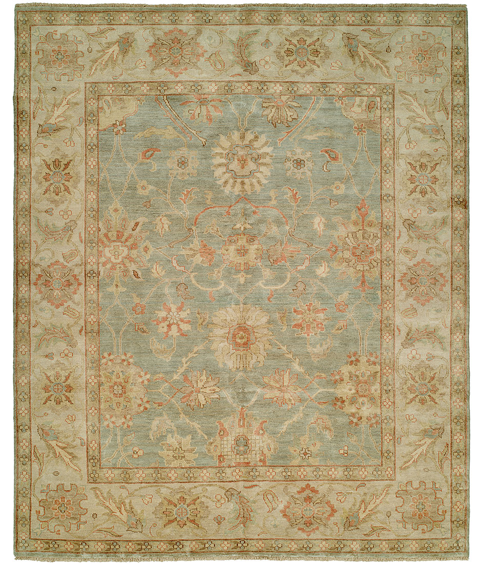 Pasargad Ny Persian Hand Knotted Wool Light Blue Ivory: Peshawar Collection